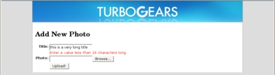 TurboGears form validation errors